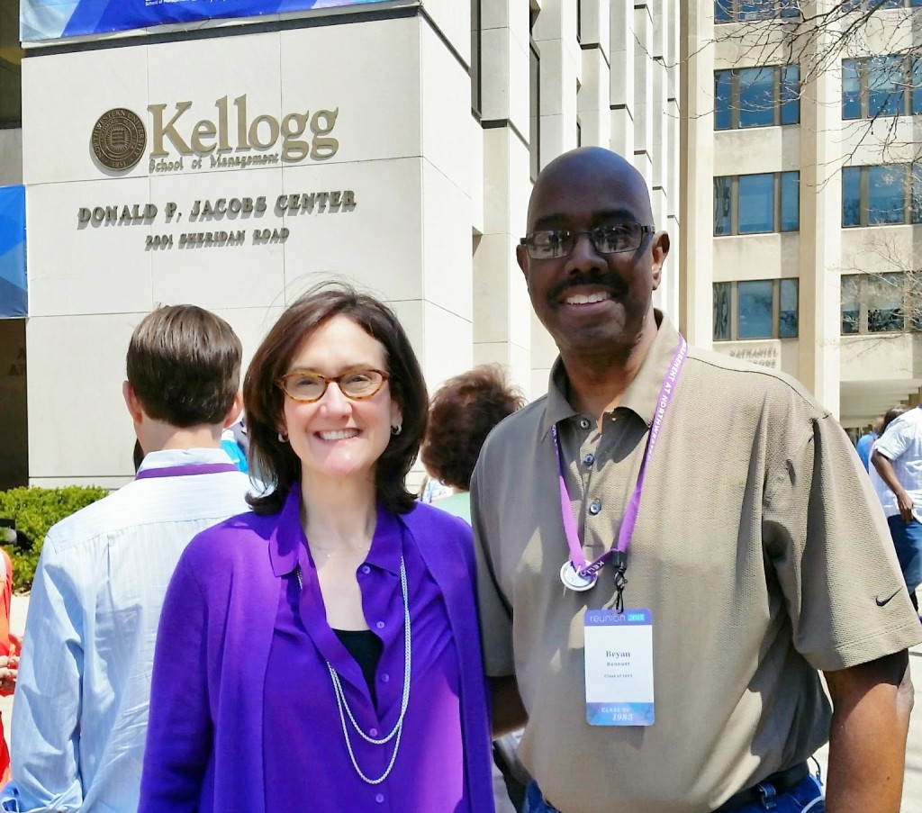 Professor Bennett with Dean Sally Blount from the Kellogg Graduate School of Management